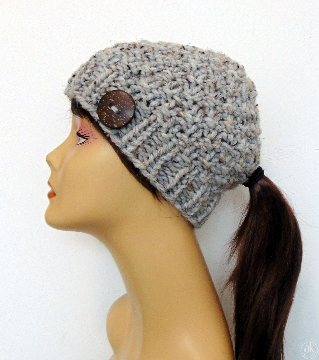 Chunky Knit Gray Ponytail Hat Beanie with Ponytail Hole - AK Crafted